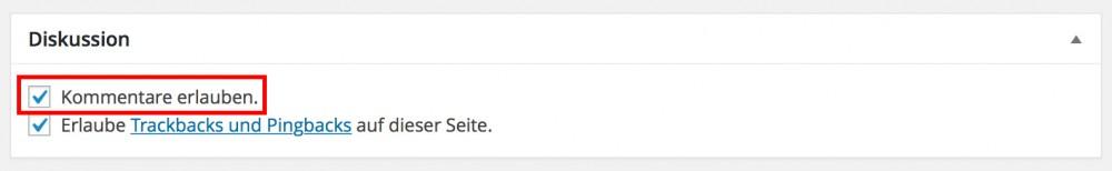 Wordpress Kommentare deaktivieren.
